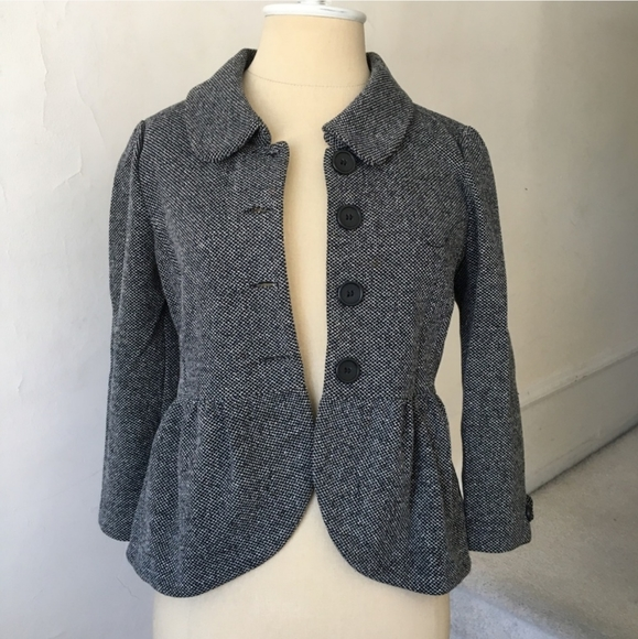 Cropped peplum tweed gray blazer jacket